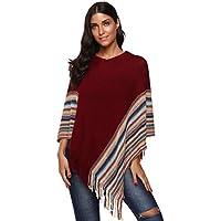 SherryDC Women's V-Neck Knit Colorful Striped Tassel Hem Pullover Poncho Sweater Shawl