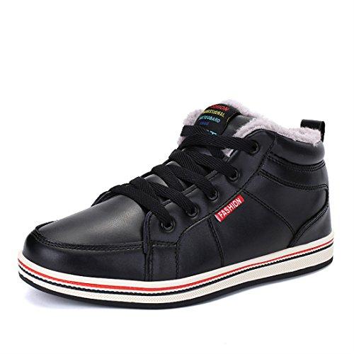 Sixspace アウトドアシューズ メンズ 防水 スノーブーツ ウィンターブーツ 防寒 綿靴 滑り止め 黒色 27cm
