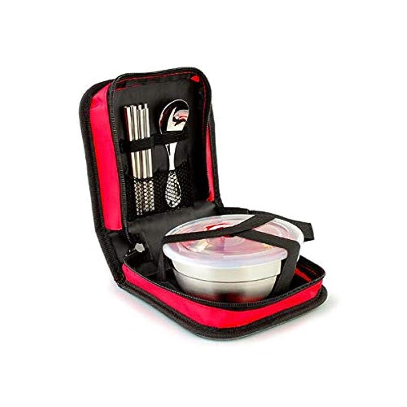 栄養思慮のないわずらわしいステンレス鋼カトラリーセット、学生子供の食器セットアウトドア食器スリーピースポータブル旅行ピクニック3ふた付きステンレスボール、赤 (Color : Red, Size : 11.5*6cm)