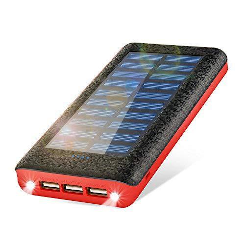 RuiPu モバイルバッテリー 大容量 24000mah ソーラーチャージャー ソーラー携帯充電器 3USB出力ポート 二個...