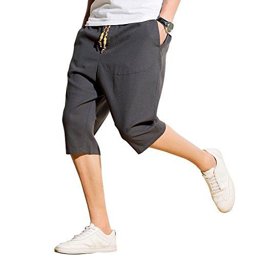 93688cabe4ce2 Harrms サルエルパンツ メンズ ハーフパンツ 半パンツ 麻 ズボン ショートパンツ 袴パンツ 7分