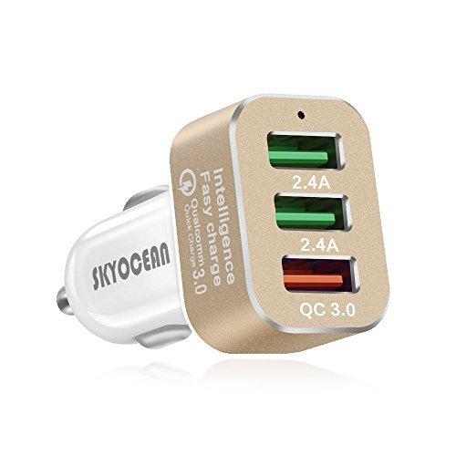 車載充電器 急速充電3.0, 42w 超小型 3ポート高速度 USB充電器 ...