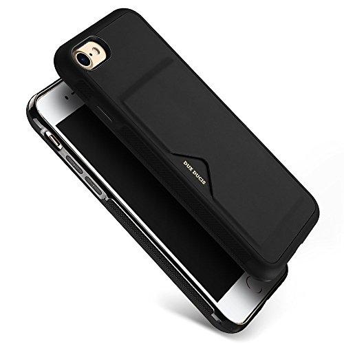 iPhone8ケース iPhone7ケース 薄型 ICカード収納 TPU+革製 耐衝撃 滑り防止 指紋防止 スマホケース 携帯カバー 黒