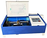 ZIVI CO2レーザー加工機 3020 40W 110V 卓上 彫刻機 非金属対応 手動昇降 USBポート 青白
