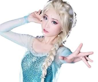 【すてきコスあいてむ】 アナと雪の女王 エルサ 風 コスプレ ウィッグ 3点セット 高品質