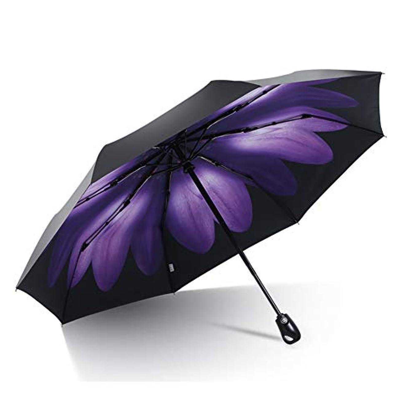 大理石ラウズパース旅行傘、防風自動オープンクローズ傘コンパクト折りたたみパラソル日焼け止めアンチ UV 傘,Purple
