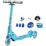 キックボード本体 折りたたみキックスクーター2-8歳の幼児、調節可能なハンドルバー/フラッシングホイール、ショックアブソービングキッズスクーター保護ギア、50kgの負荷 (色 : 青)