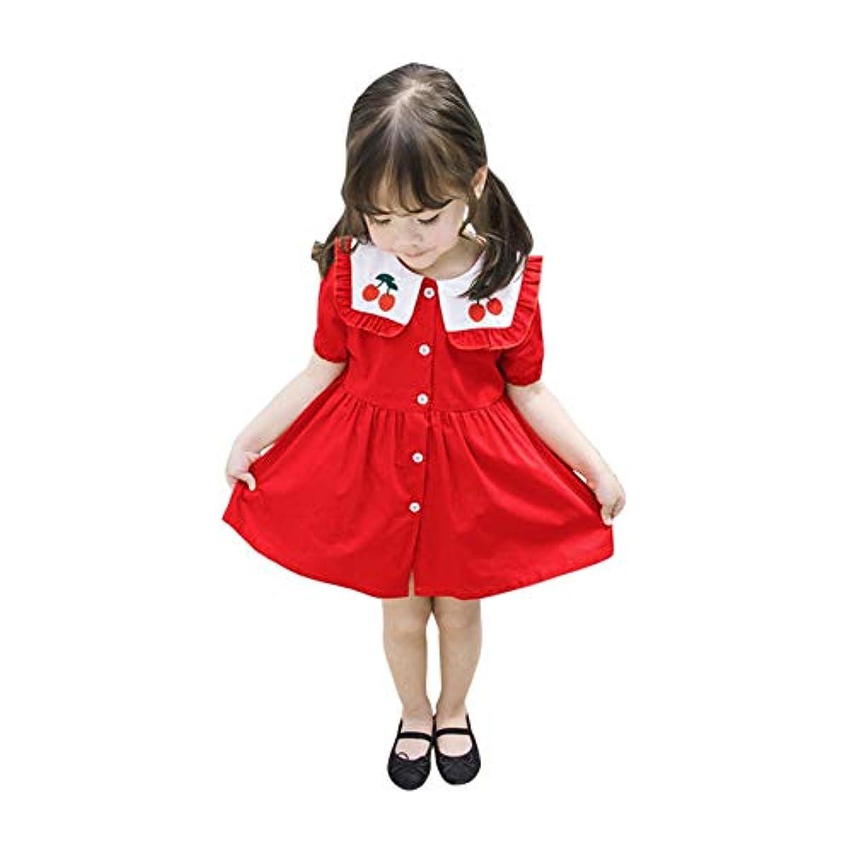 子羊バンカー香ばしいUrmagicワンピース ベビー用 夏 綿 レッド 学院風 海軍風 カジュアル 女の子 桜柄 半袖 ドレス 子供服 1-6歳