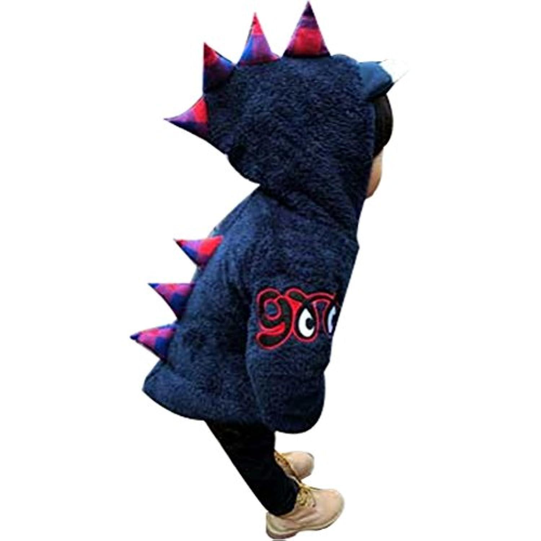 CXYP ベビー服 子供服 秋冬 コート 恐竜 可愛い キッズ 裏ボアコート 防寒 アウター  男の子 女の子 保温トレーナー  (130cm, ネイビー)