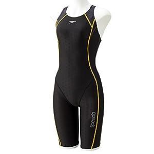 Speedo(スピード) フィットネス水着 レディース スパッツスーツ ラップスウィム トレーニング フレックスシグマ2 SD58N13 チャコールグレイ×マスタード HM M