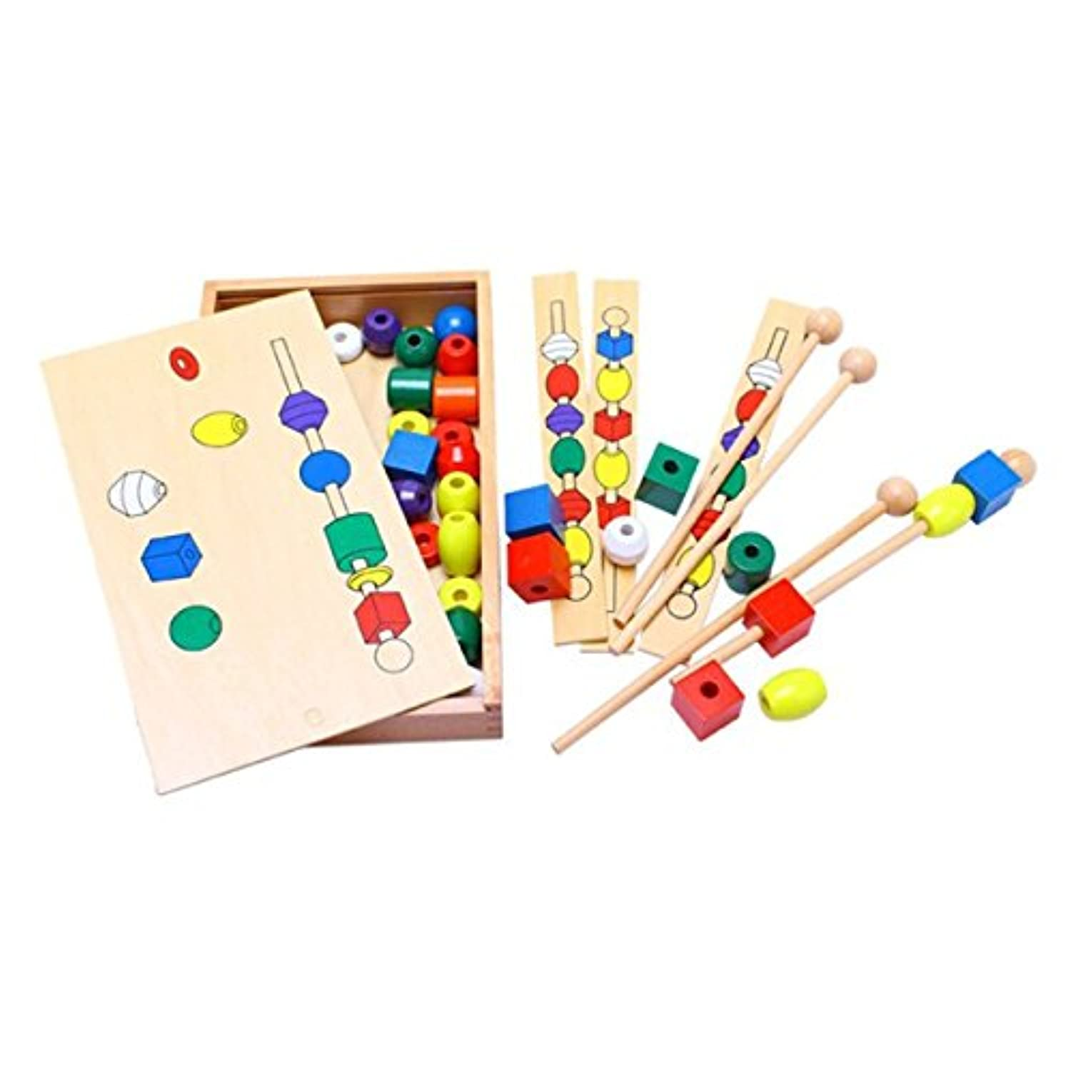 Montessori Bead Sequencing Set Block Toys DIY Classic Toy Kids Teaching Aids Material