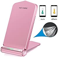 Wireless Fast Charger DUWUER Qi Charger Wireless Charging Stand Pad for Samsung Note8 Galaxy S8 S8 Plus S7 S6 Edge Note 5 iPhone 8/8 Plus iPhone X and Other Qi-Enabled Devices(Pink) [並行輸入品]