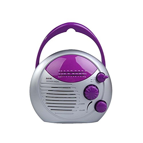 [해외]퍼플 실버 AM FM 샤워 라디오 욕실 방수 Hanging 음악 라디오 스피커/Purple Silver AM FM Shower Radio Bathroom Waterproof Hanging Music Radio Speaker