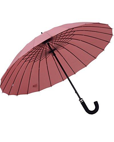 Orienex 長傘 レディース傘 高強度24本骨 紳士傘 雨に濡れると花が浮き出る 敬老の日 全14色(さんご色)