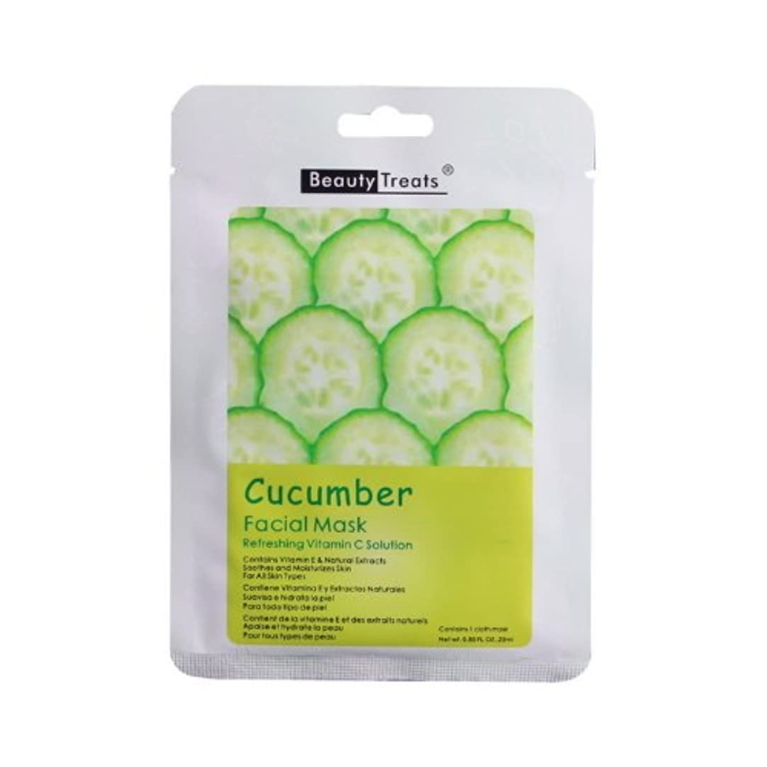 氏散逸難しい(3 Pack) BEAUTY TREATS Facial Mask Refreshing Vitamin C Solution - Cucumber (並行輸入品)