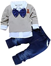ShangYi 2pcs Toddler Baby Boys Bow Tie Shirt Tops+Jeans Gentleman Outfits