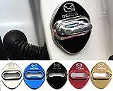 4枚セット 5色選択可 マツダ MAZDA ストライカー カバー ドアロック カバー 鏡面ステンレススト 全車種対応 マツダ社外品 (ブラック)