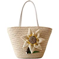 Straw Bags Women Handwoven Rattan Bag Large Tote Shoulder Handbag Boho Purse