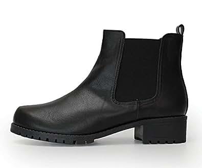 (ルームナイン) Room9 シンプル サイドゴア ブーツ ショートブーツ ハイカット スムース スエード ローヒール/レディース(kk-6138) ブラックスムース Sサイズ
