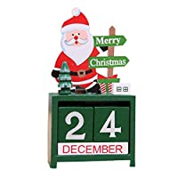 MILICOCO クリスマス飾り木製 カレンダー 置物 インテリア カウントダウン 卓上 玄関 サンタクロース トナカイ 雪だるま 繰り返し使用 装飾グッズ 木製ブロック 可愛い クリスマスプレゼント 部屋飾り 店飾り (サンタクロース)