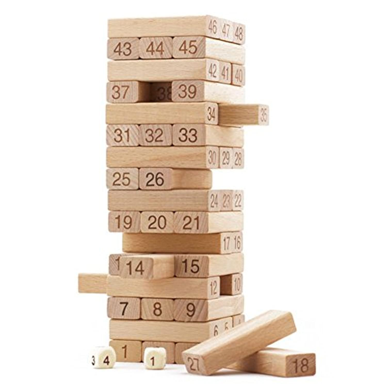 Remeehi木製タワー木製BuildingブロックおもちゃDomino Stacker抽出建物教育ゲームギフト50個図