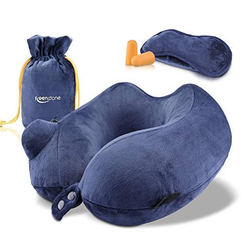 ネックピロー 飛行機 Keenstone U型 携帯枕 手動プレス式 低反発 旅行用 洗えるカバー トラベル 仮眠 肌に優しい 頚椎緩和 耳栓 アイマスク 収納ポーチ付