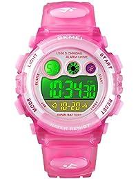 キッズ腕時計 子供用腕時計 女の子 防水 ガールズ腕時計 ピンク 多機能 デジタル表示 アラーム ウォッチ キッズ 祝日 誕生日プレゼント