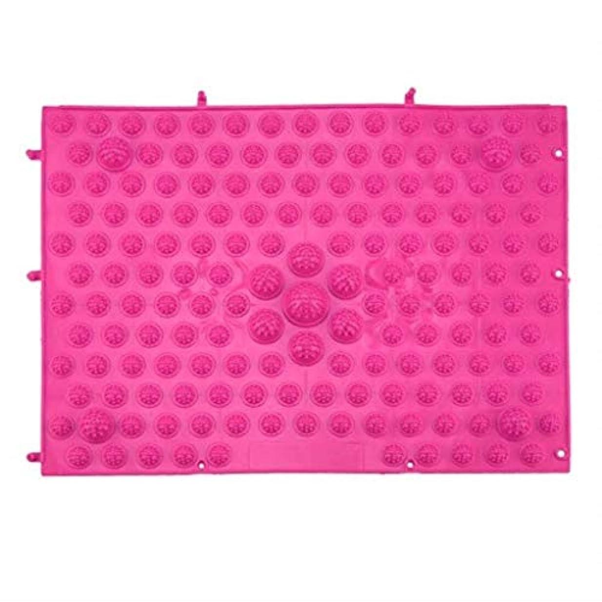 話す有用ムスタチオマッサージクッション、指圧フットパッド、リフレクソロジーウォーキングマッサージパッド、痛みを和らげ、筋肉をリラックス37x27.5cm (Color : Rose Red)