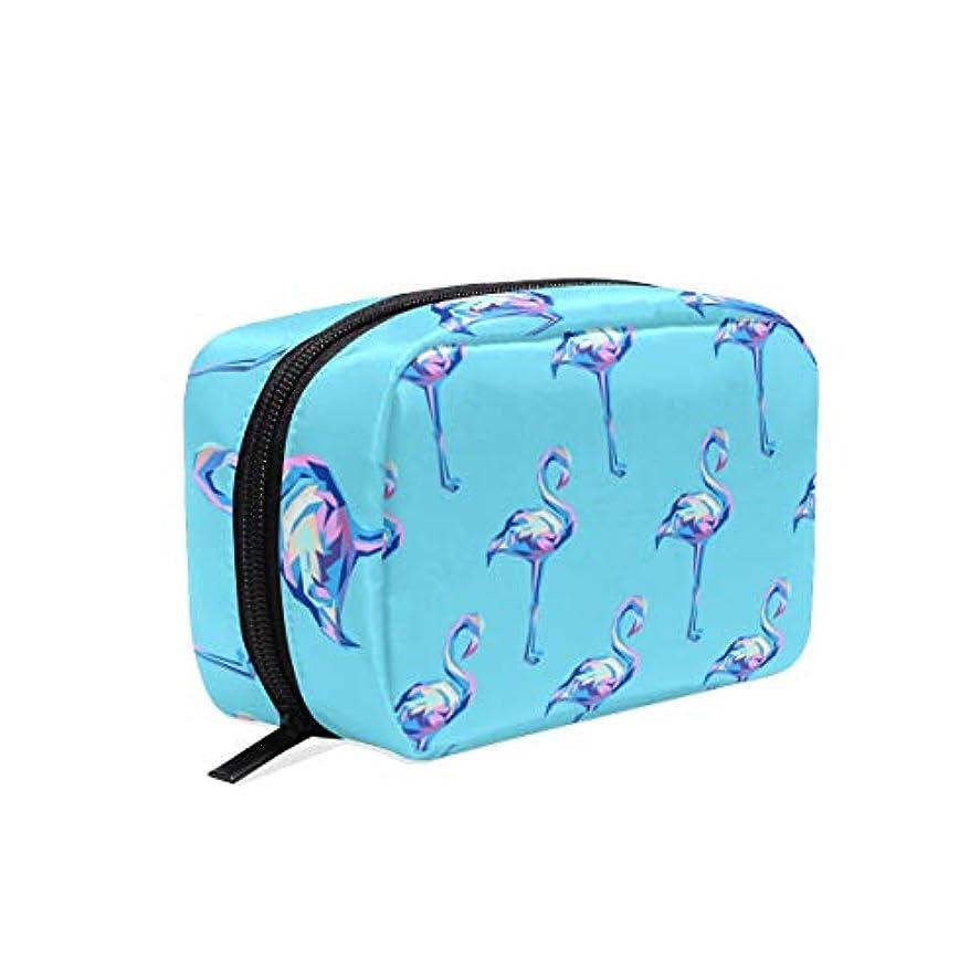 むしゃむしゃ音餌(VAWA) メイクポーチ 大容量 可愛い フラミンゴ ブルー 化粧ポーチ コンパクト 機能 おしゃれ 携帯用 コスメ収納 仕切り ミニポーチ バニティーケース 洗面道具