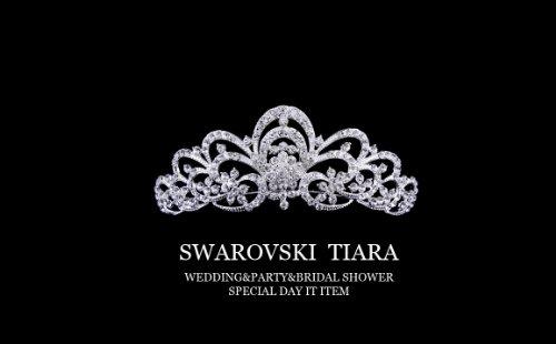 前櫛 王冠 ティアラ・スワロフスキーラインストーンで作られたティアラ