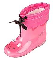 [Feoya] レインシューズ 子供 女の子 小学生用 レインブーツ 防水 pvc 入学 入園 水遊び お出かけ 軽量 滑り止め 雨靴 ピンク 19cm