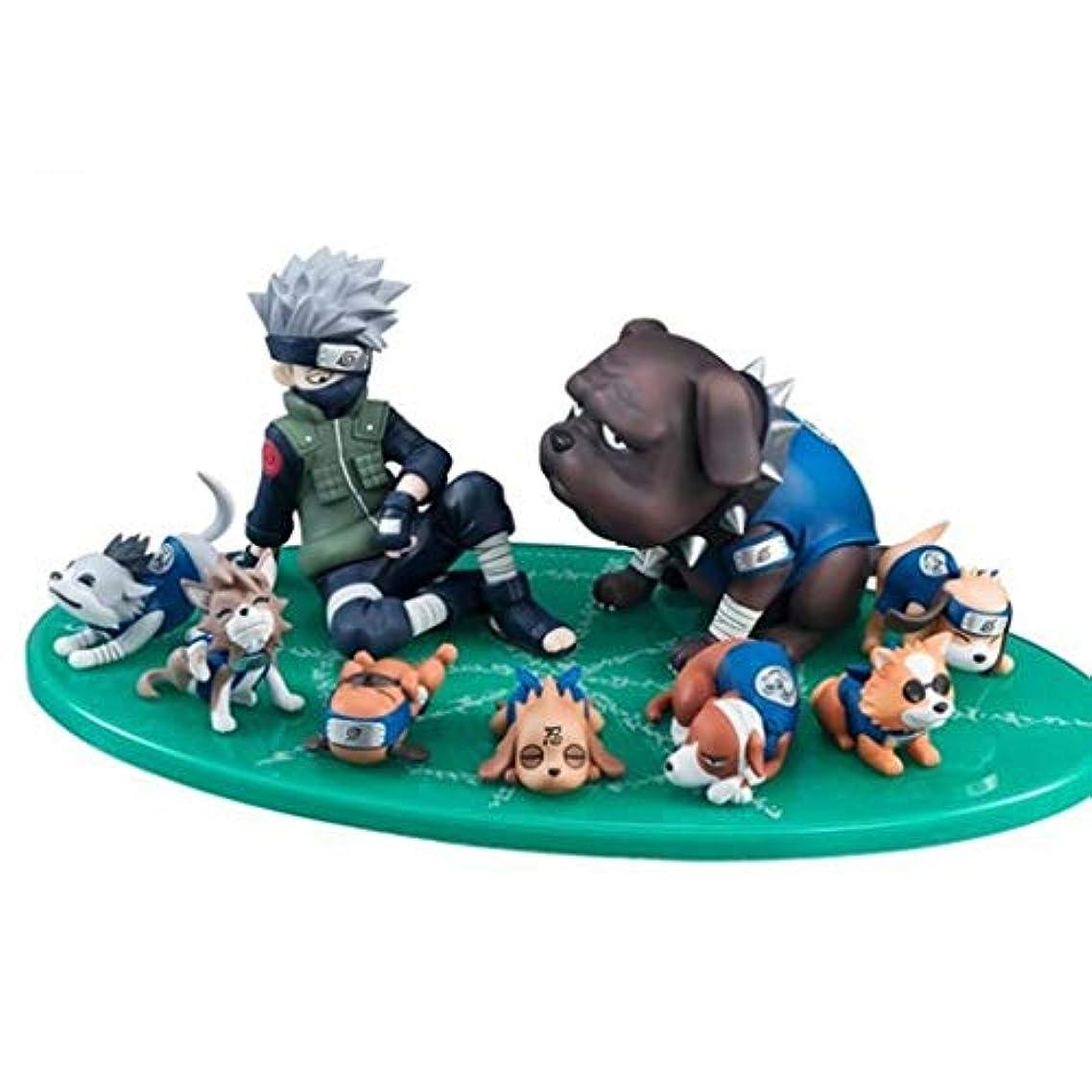バイバイクリップ収容するカカシと子犬、フィギュア玩具コレクション像漫画のキャラクター、アニメナルトモデル、アニメ装飾キャラクター彫刻(9cm) SHWSM
