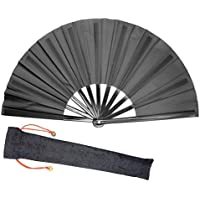Lysa Chinese Kung Fu Tai Chi Large Hand Folding Fan for Men/Women - Chinese/Japanese Oriental Asian Style - for Wedding, Dancing, Church, Party, Gifts (Black)