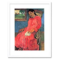 Painting Gauguin Woman In Red Dress Old Master Framed Wall Art Print
