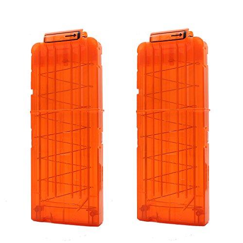 [해외]Hosim 총알 클립 두 소프트 클립 12 - 다트 탄약 클립 포인트에서 Nerf 장난감 클립~ 어린이 장난감 총 - 오렌지/Hosim bullet clip~ two soft clip~ 12 - dart ammunition clip~ clip to Nerf toy with point~ children toy gun - orange