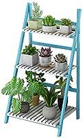 JKMQA 花は、竹の花はスタンド/屋内ウッドフラワースタンド/多機能シェルフ/折りたたみフラワーポットラック(色、ナチュラル) フラワースタンド (Color : Blue)