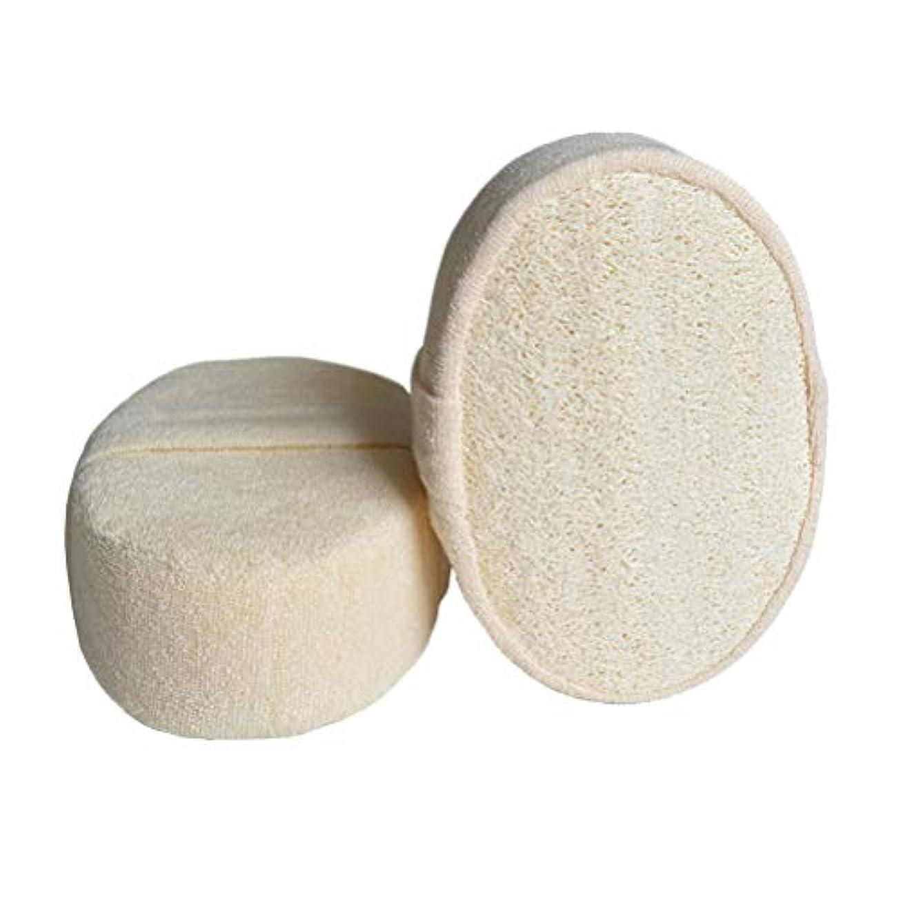 ラボ豊富に特徴TOPBATHY 2ピース角質除去loofahパッドloofaスポンジスクラバーブラシ用風呂スパとシャワー