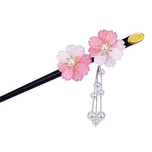 AWAYTR 2つ桜の花 かんざし 簪 ゆらゆら 一本 髪飾り (ピンク)
