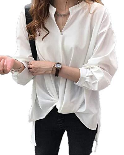[アミュオン] シャツ ブラウス 七分袖 レディース カジュアル 長袖 ながそで 長そで トップス おしゃれ ファッション ビジネス フォーマル カラー シルク 調 コットン オフィス 仕事 着 OL 女性 レディス スカーフ ワイシャツ 形態 形状 安定 シフォン amazon アマゾン AMAZON 20代 30代 40代 50代 綺麗 (ホワイト M)