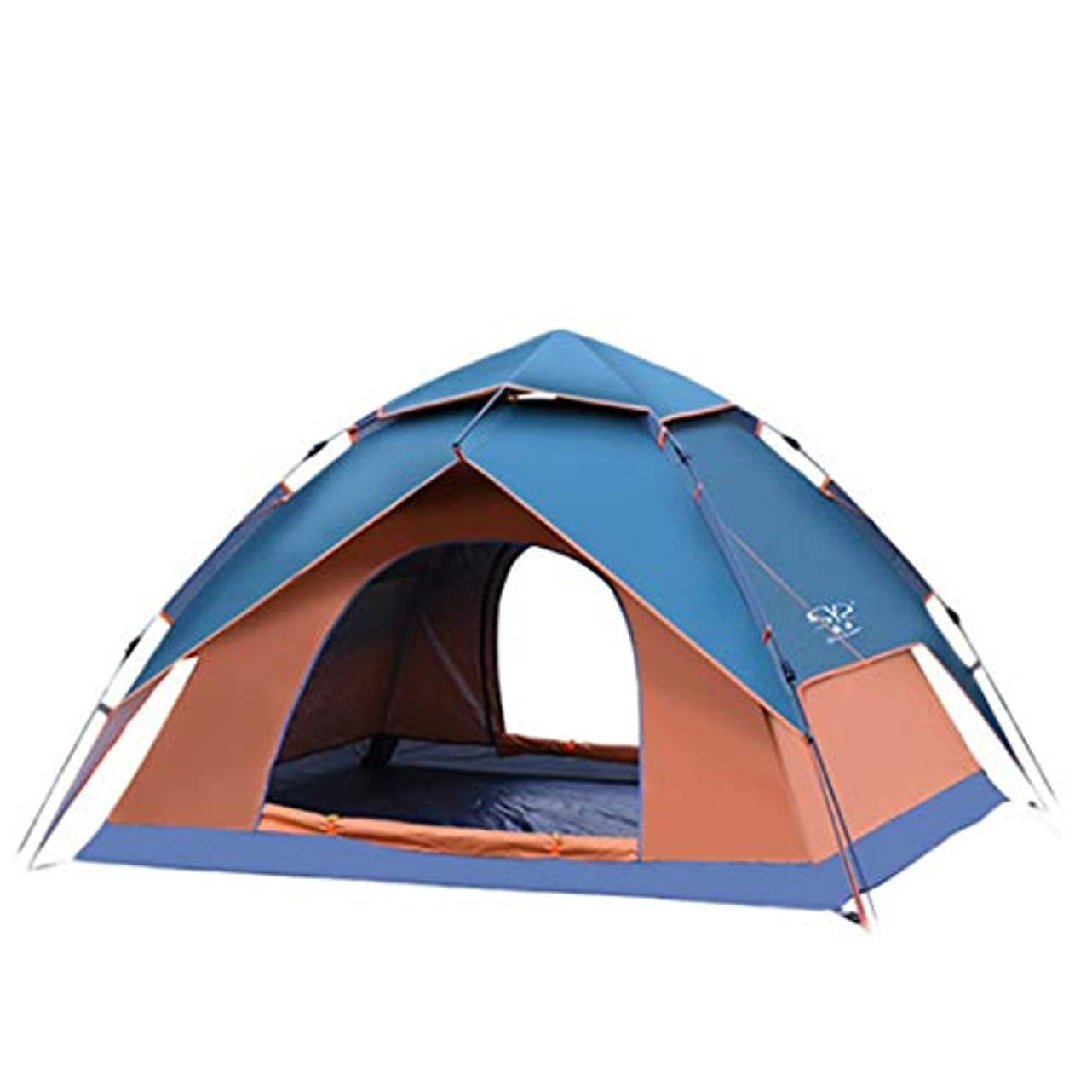 貢献男らしい薄暗いMHKBD-JP 3-4人丈夫なキャンプテント自動インスタントポップアップバックパッキングテント超軽量防水ハイキングキャンプ旅行、サンシェード蚊 キャンプテント (色 : オレンジ)