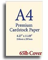 ナチュラルクリーム プレミアム A4 (8.3インチ x 11.7インチ) 厚紙 - 65ポンド カバー (176 gsm) 100 Sheets オフホワイト