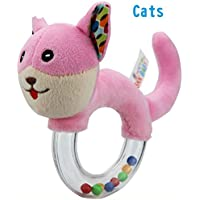 Dalinoベイビーズおもちゃベビーラウンドかわいい動物透明ゴムリングRattles Hand Toy ( Cats )