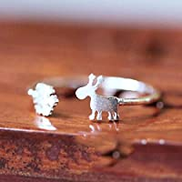 Snowflake Fawns Ring 925 Silver Open Adjustable Ring for Girls