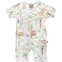 Babyushka Organic Australiana Collection Forest AOP Short Sleeve Kimono Romper, 000