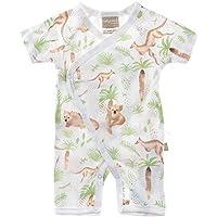 Babyushka Organic Australiana Collection Forest AOP Short Sleeve Kimono Romper, 0