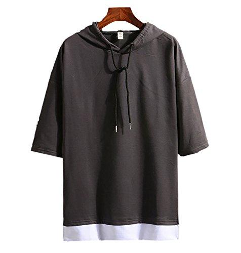 (Make 2 Be) メンズ 7分袖 Tシャツ フード付き ゆったり ドロップショルダー レイヤード カジュアル シャツ プルオーバー MF74 (16.Charcoal_4XL)