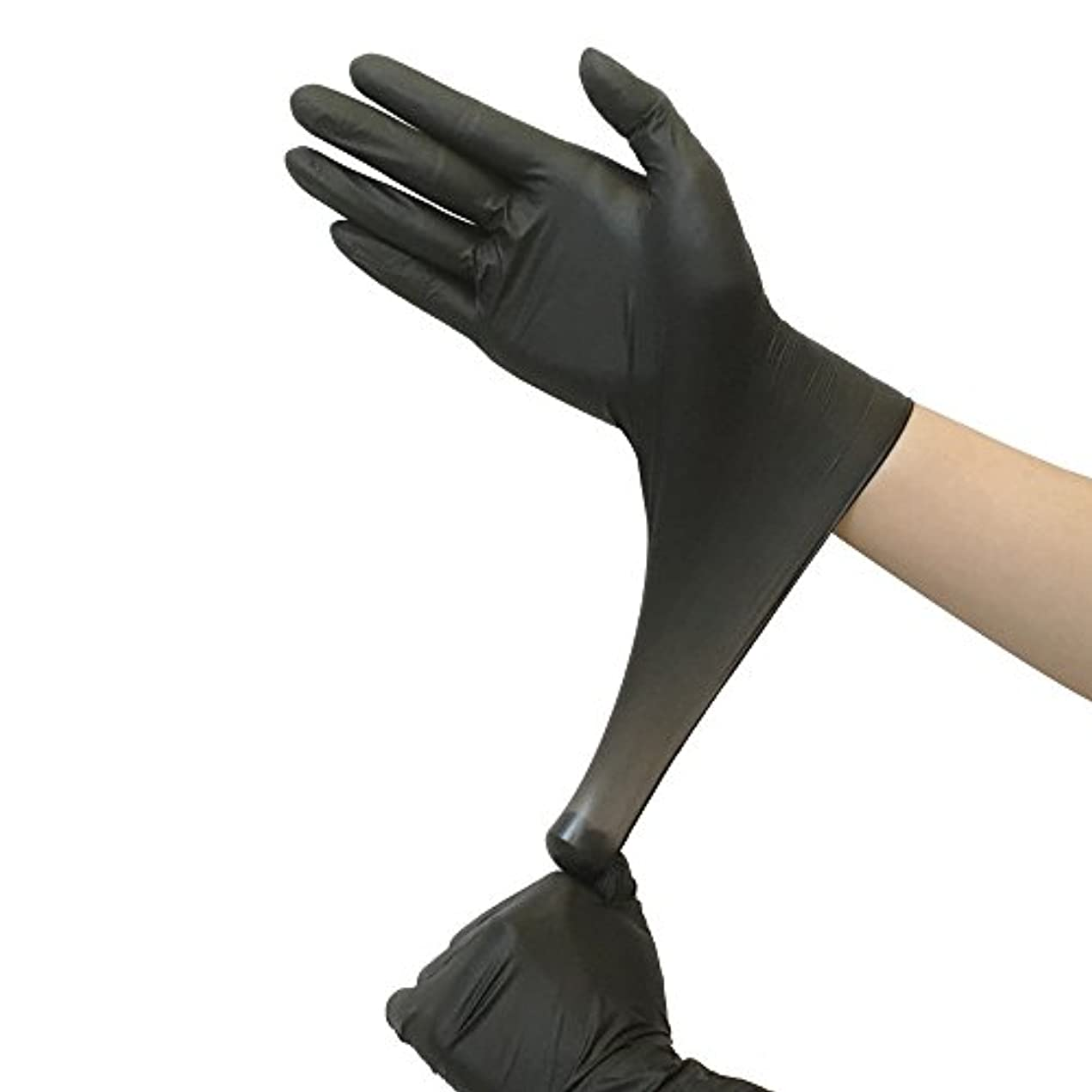 スズメバチ適応するパフニトリル手袋  使い捨て手袋 粉なし 100枚入 ブラック