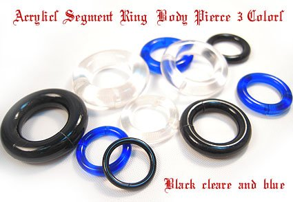 [해외]4G 2G 0G 아크릴 세그먼트 링 바디 피어싱 검정 빨강 파랑 클리어 (bp1684-936-1037-903-906-1693-1694-977)/4G 2G 0G Acrylic Segment Ring Body Piercing Black Red Blue Clear (bp 1684-936-1037-903-906-1693-1694-977)