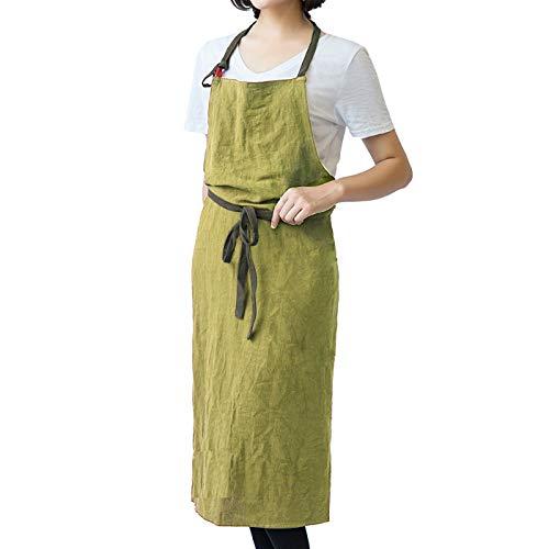 6913fce2020b1 Bewitching シンプル リネン ナチュラル カフェ エプロン ロング丈 (抹茶グリーン) シンプルで優しい風合いのリネン をおしゃれに仕立てたエプロン。