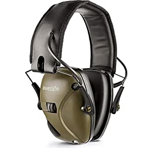 射撃音などに対応した電子防音イヤーマフ、Awesafe GF01ノイズ削減サウンドアンプ搭載電子セーフティイヤーマフ、耳を強力に保護、NRR 22、射撃や狩りに理想的なアイテム (クラッシック、グリーン)